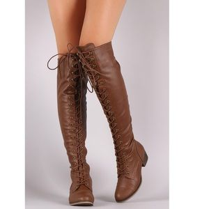 dfe9e5b8eb9 Breckelles high knee lace up boots size 6.5